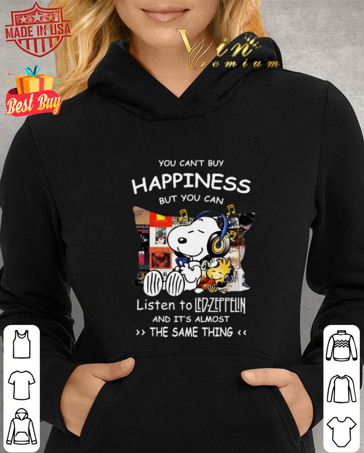 Peanuts Snoopy happiness listen to Led Zeppelin the same thing shirt 2
