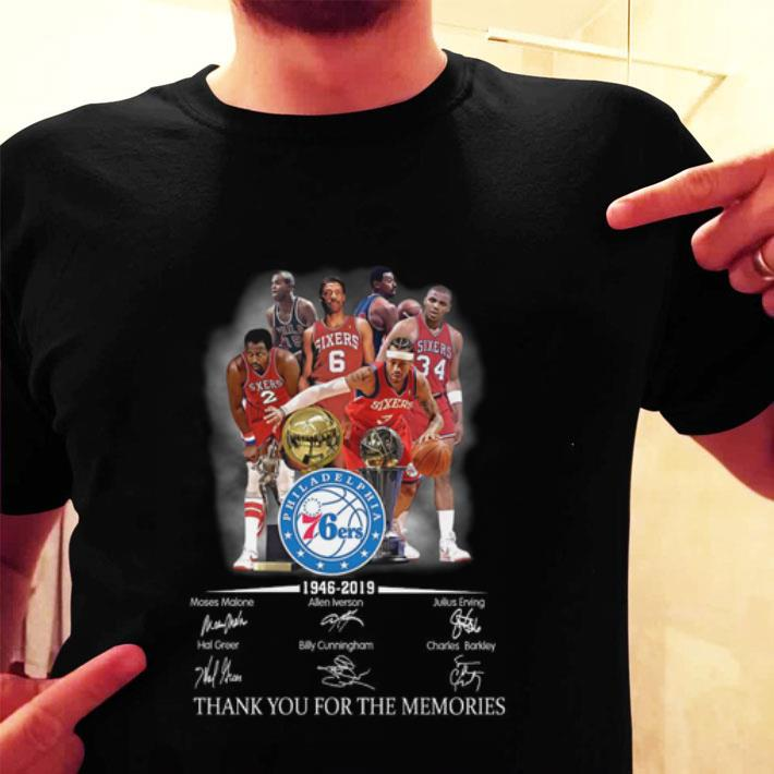 Philadelphia 76ers 1946-2019 thank you for the memories shirt