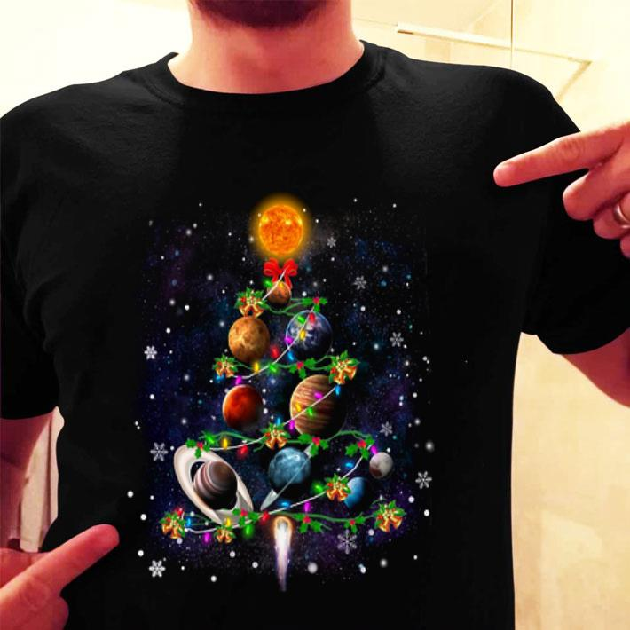 Planet Solar System Earth Is Flat Christmas Tree shirt