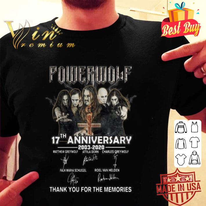 Powerwolf 17th Anniversary 2003 2020 signatures thank you for the memories shirt