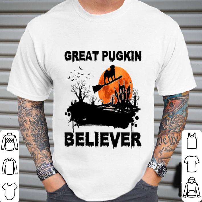 Pug Great pugkin believer sunset halloween shirt