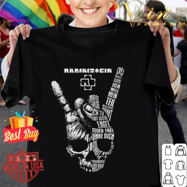 Rammstein rock sign skull shirt