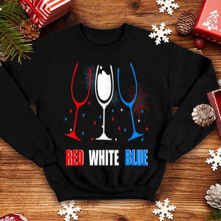Red White and Blue Wine Glass 4th of July shirt