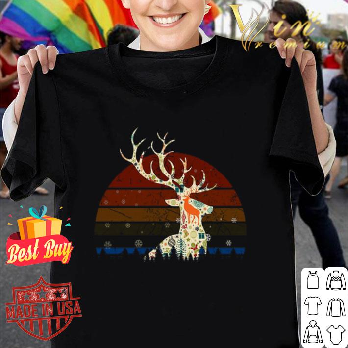 Reindeer Christmas Retro Sunset shirt