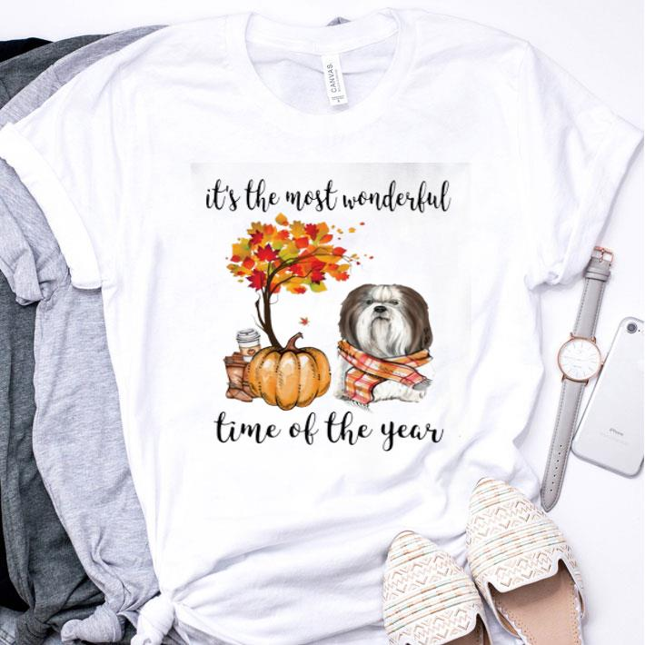 Shih Tzu & Pumpkin it's the most wonderful time of the year shirt