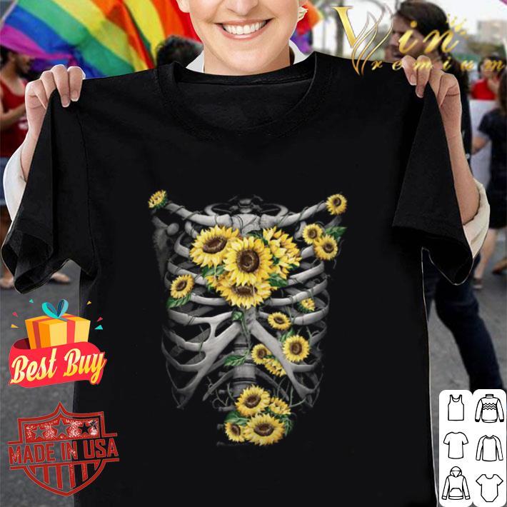 Skeleton Bones Sunflowers shirt