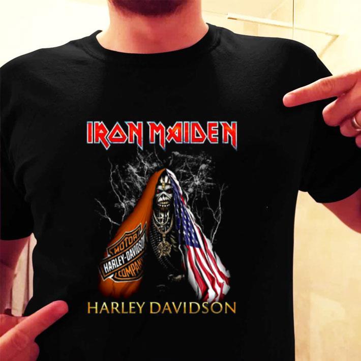 Skull American flag Iron Maiden Harley Davidson shirt