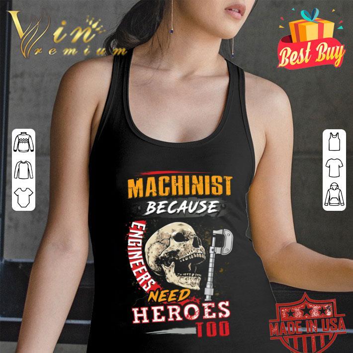 Skull Sarcastic Machinist Because Engineers Need Heroes Too shirt