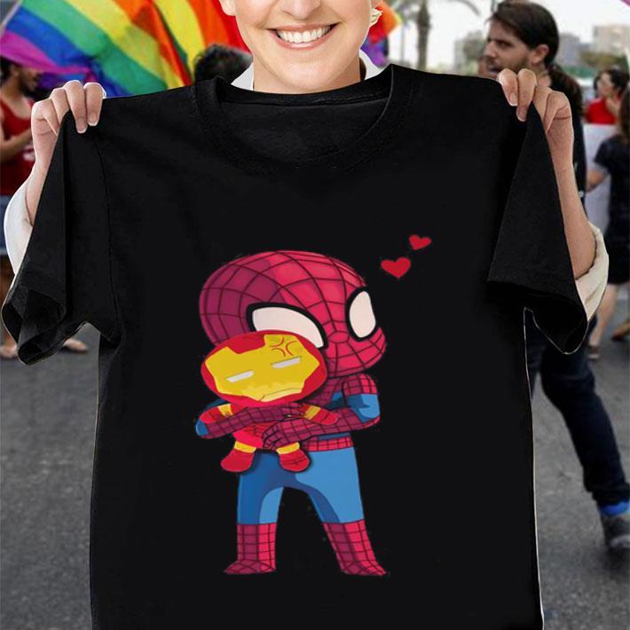 Spider Man hugging baby Iron Man shirt