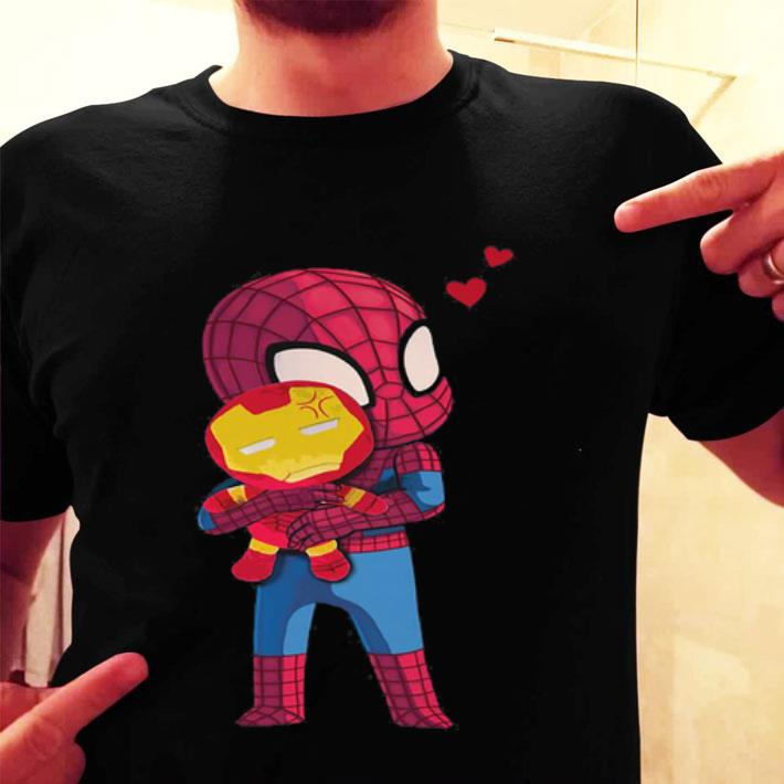 Spider Man hugging baby Iron Man shirt