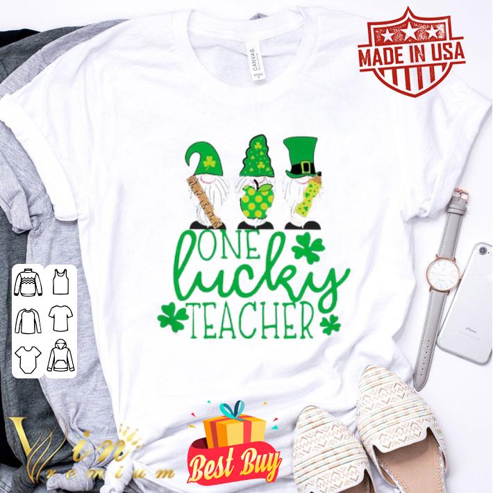 St Patrick's day Gnome one lucky teacher shirt