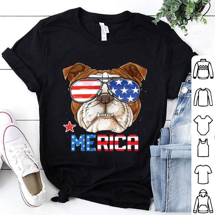 Sunglass Bulldog Merica 4th July independence day American flag shirt