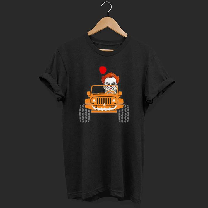 The Clown Pennywise Holding Balloon Drives Jeep shirt 1