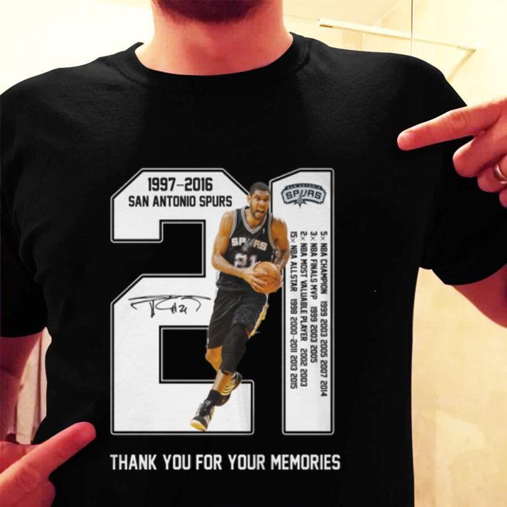 Tim Duncan 1997-2016 San Antonio Spurs thank you for your memories shirt