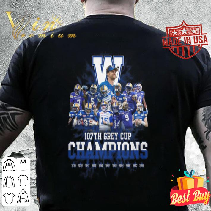 Winnipeg Blue Bombers 107th Grey Cup Champions shirt