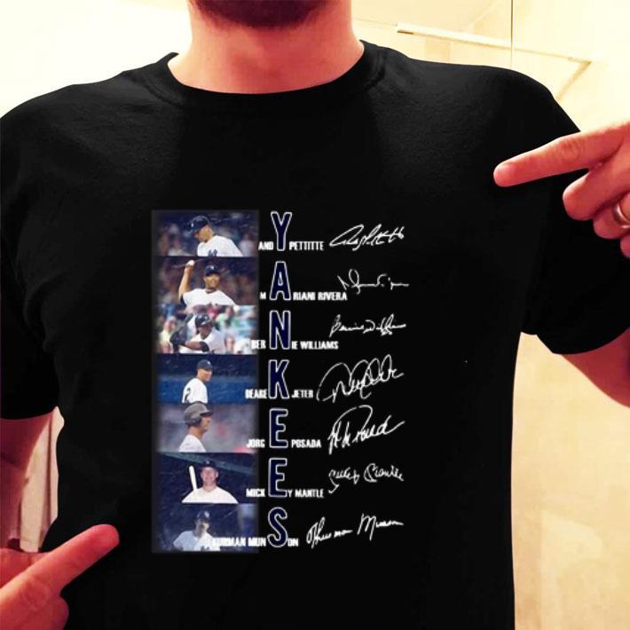 Yankees Andy Pettitte Mariano Rivera Bernie Williams Signatures shirt