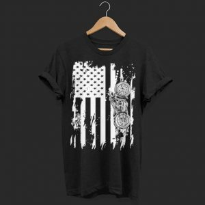 Vintage Retro Motorcycle Detailed With American Flag shirt