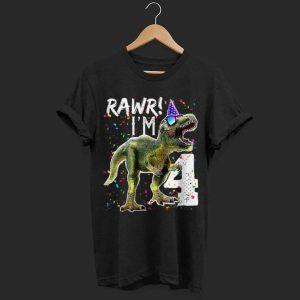 Kids Rawr I'm 4 Dinosaur shirt