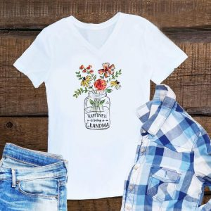 Happiness is being a Grandma Life Flower Art Mother day shirt