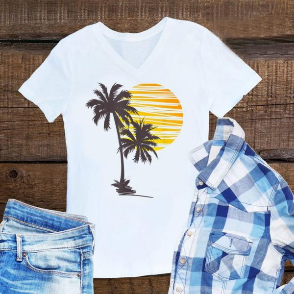 Sunset Beach Palm Tree Summer Vacation Holiday shirt