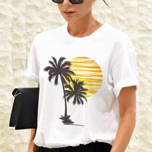 Sunset Beach Palm Tree Summer Vacation Holiday shirt 2
