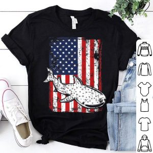 4th of July American Flag Whale Shark Oceanography shirt