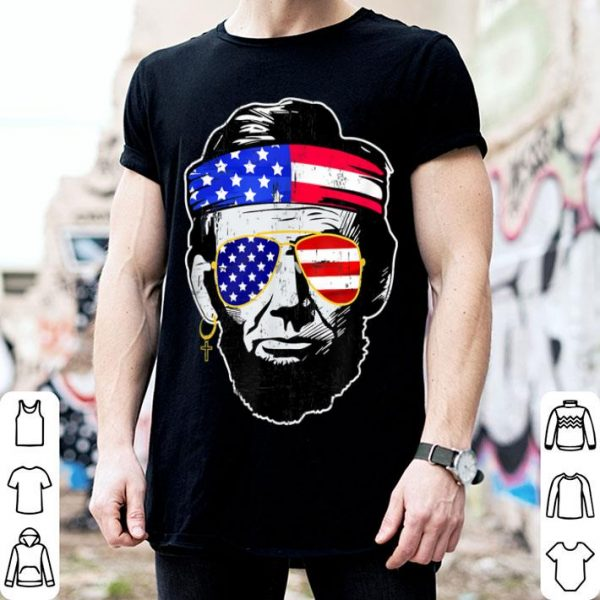 Abraham lincoln 4th Of July American Flag Sunglasses shirt