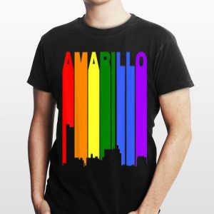 Amarillo Texas Lgbtq Gay Pride Rainbow Skyline shirt