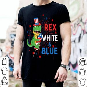 American Flag T-Rex White Blue Kids Patriotic 4th Of July shirt