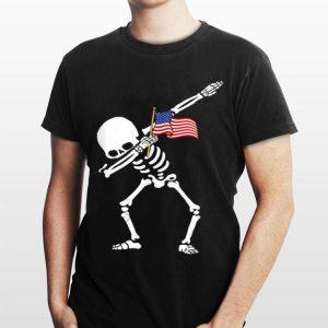 Dabbing Skeleton Us Flag 4th Of July shirt