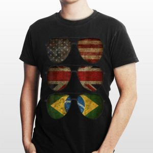 Distressed Patriotic Sunglasses United States Brazil Uk shirt