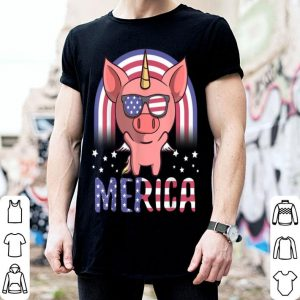 Merica Piggycorn Pig USA American Flag 4th Of July shirt