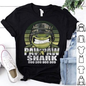 Pawpaw Shark Doo Doo Army Veteran Father day 4th Of July American Flag shirt