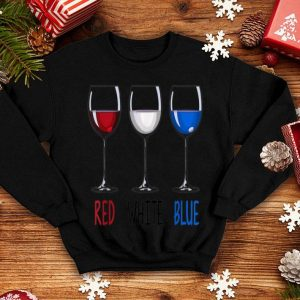 Red White Blue Wine Glasses Wine Drinking 4th Of July American Flag shirt