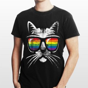 Vintage Gay Pride Gif LGBT Pride Cat Lover Tee shirt