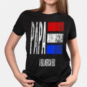 Vintage Papa A Real American Hero Distressed American Flag shirt