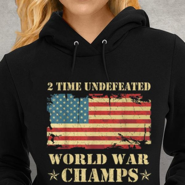 2 Time Undefeated World War Champs Ameican Flag Youth tee