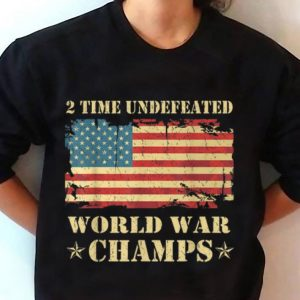 2 Time Undefeated World War Champs Ameican Flag Youth tee 2