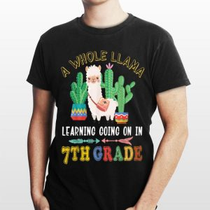 A Whole Llama Learning Going On 7th grade Back To School shirt