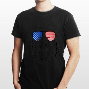Dixie the Doodle American Flag Sunglasses Dog shirt