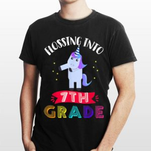 Flossing Into 7th Grade Cute unicorn Back To School shirt