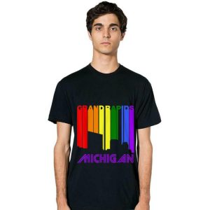 Grand Rapids Michigan LGBTQ Gay Pride Rainbow Skyline long sleeve