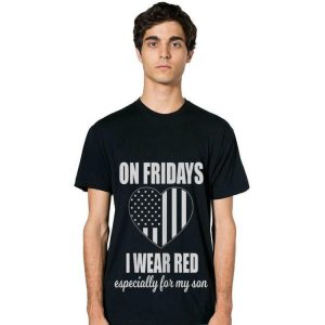 On Fridays I Wear Red Especially For My Son Heat American Flag hoodie