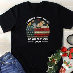 Original I Voted For Trump And Will Do It Again 2020 Build American Wall shirt