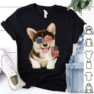 Pembroke Welsh Corgi Dog American Flag Sunglasses shirt