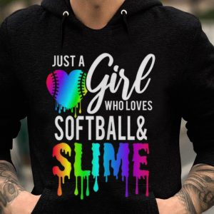 Premium Just Girl Who Love Softball & Slime Rainbow shirt