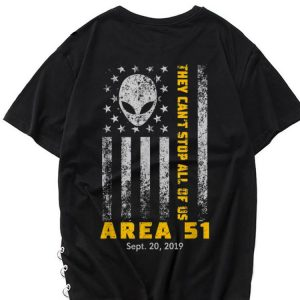 Premium Storm Area 51 They Can't Stop All Of Us Alien Face American Flag shirt
