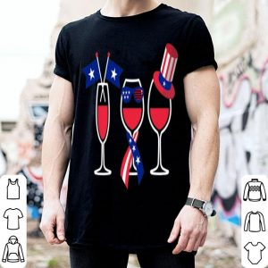 Red White Blue Wine Glasses American USA Flag 4th Of July Premium shirt