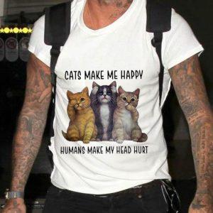 Three Cats Make Me Happy Humans Make My Head Hurt Sweater