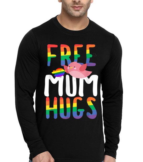 Free Mum Hugs LGBT Gay Pride Rainbow Bird Flag shirt